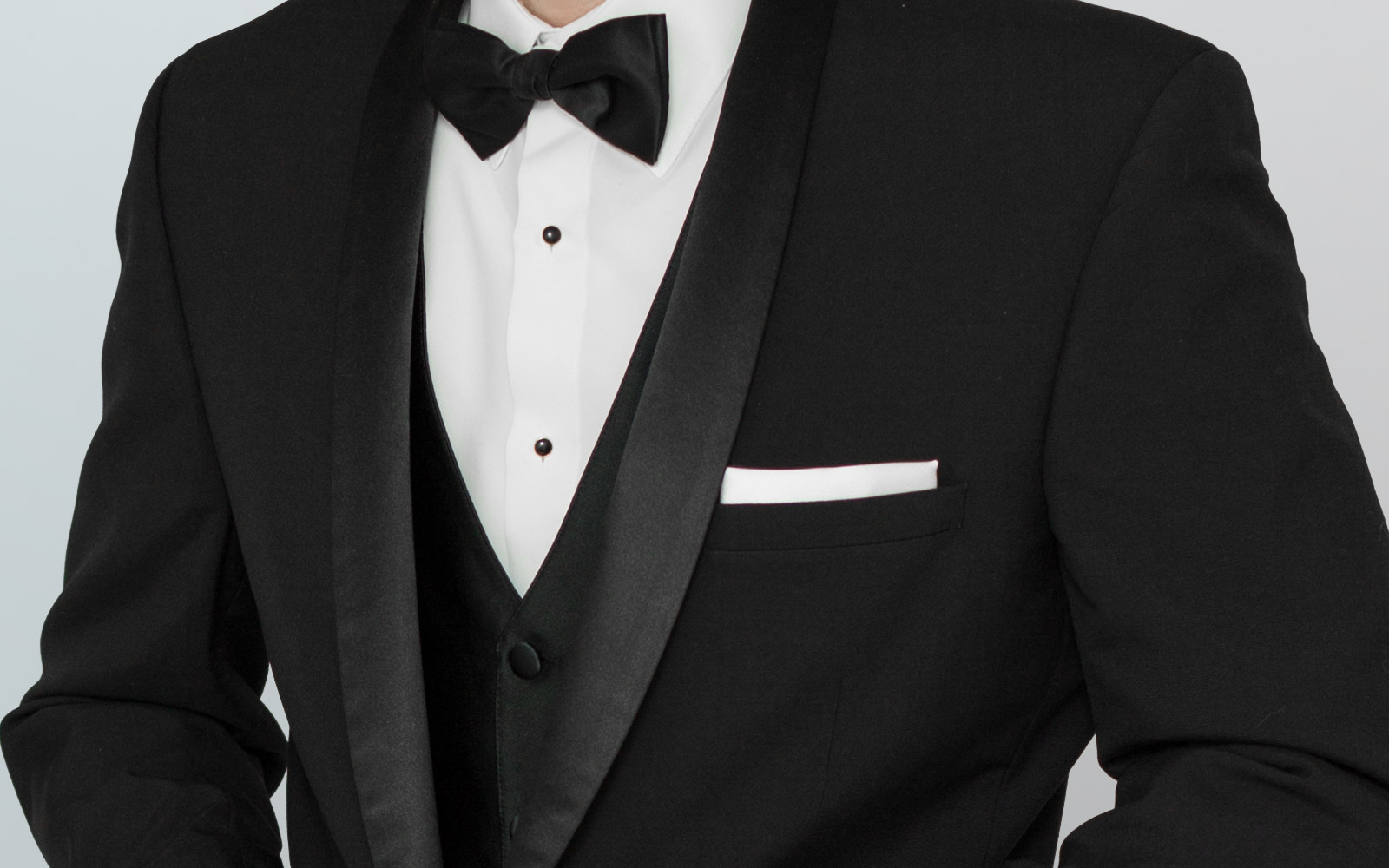 Glossary picture of black tuxedo with black bow tie from Tip Top Tux